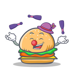 juggling burger character fast food vector image
