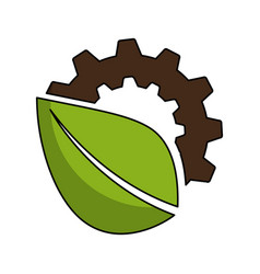 Leaf with gear ecology symbol vector