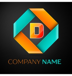 Letter D logo symbol in the colorful rhombus on vector