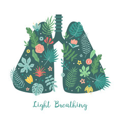 Lungs care light breathing concept cartoon body vector