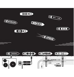 merchant and cargo ships enter port vector image