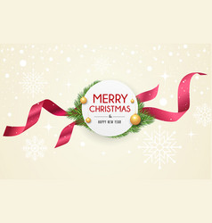 merry christmas ribbon label banners design vector image