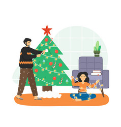 merry christmas scene happy couple decorating vector image
