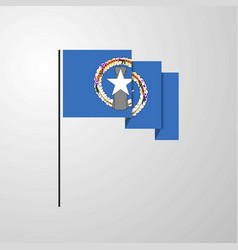 Northern mariana islands waving flag creative vector