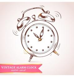 Old retro alarm clock card vector