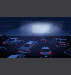 Open air outdoor or drive-in cinema theater at vector
