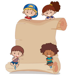 Paper background with four kids vector