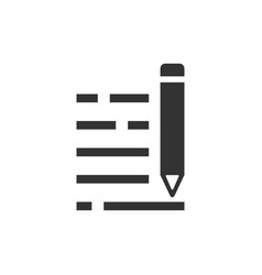pencil notepad icon in flat style document write vector image