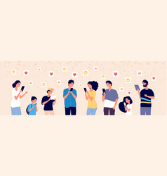 people chatting online adult and kids vector image