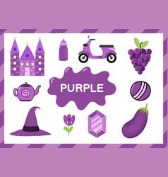 Purple educational worksheet for kids learning vector