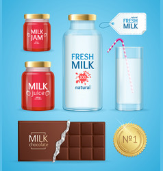 Realistic product with milk vector