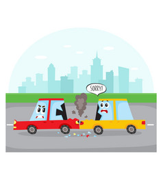 Rear end collision - car characters on city street vector