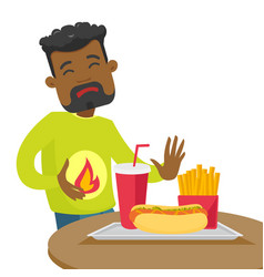 Sad african-american man suffering from heartburn vector