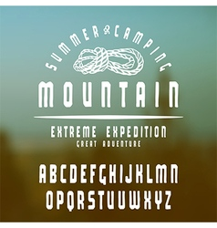 Sanserif font with hand drawn soft shape mountain vector