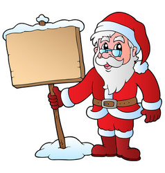 santa claus holding wooden board vector image