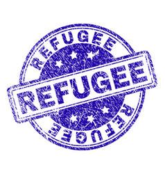 scratched textured refugee stamp seal vector image