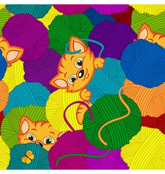Seamless pattern with kitten and balls of yarn vector