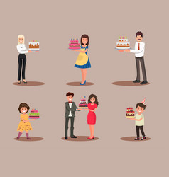 set characters with a cake office worker vector image
