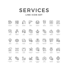 Set line icons of service vector