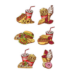 set of hand drawn colored fast food vector image