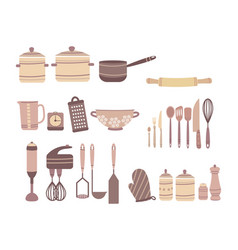 set of kitchen accessories collection of vector image