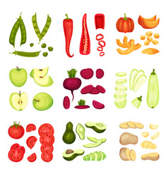 Set whole and sliced vegetables vector