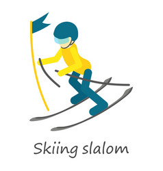 Skiing slalom icon isometric style vector