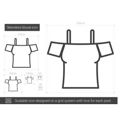 Sleeveless blouse line icon vector