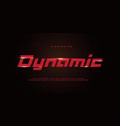 Sport dynamic alphabet red italic geometric font vector