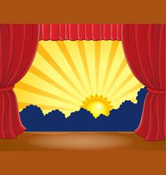 Stage with abstract sun 6 vector