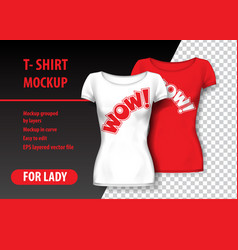 t-shirt mockup with wow in two colors mockup vector image