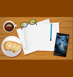 Table aerial view with mobile screen mockups vector