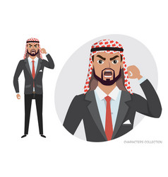 The evil arab businessman character threatens with vector