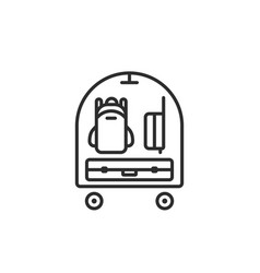 thin line icon of baggage on trolley in airport vector image