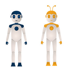 two robots of blue and yellow color in a flat vector image
