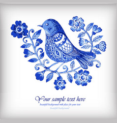 watercolor background with blue flowers and birds vector image