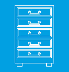 Wooden cabinet with drawers icon outline vector