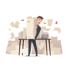 workload businessman overwork office manager vector image