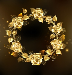 Wreath of Gold Roses vector