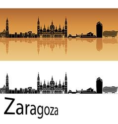Zaragoza skyline in orange background vector image