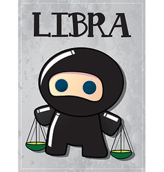 Zodiac sign Libra with cute black ninja character vector