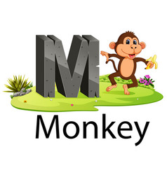zoo animal alphabet m for monkey vector image