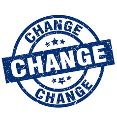 change blue round grunge stamp vector image vector image