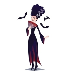Cute Vampire lady with fan and bats vector image