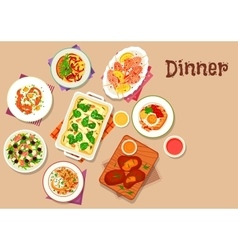 Dinner menu icon for healthy food design vector image vector image