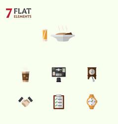 Flat icon life set of bureau timer clock and vector