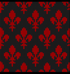 flower-de-luce on a seamless woolen pattern vector image vector image