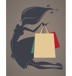 girl and shopping bags vector image vector image