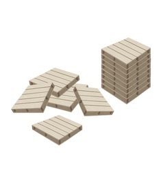 Group of Wood Pallets on White Background vector image vector image
