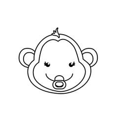 monkey cartoon drawing animal vector image vector image
